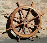 Old Motor Yacht Or Boat / Large Shipand039s Wheel.