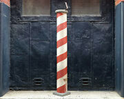 Wooden Barber Pole Trade Sign 46and039and039 Americana Folk Art Sidewalk Stand Wall Mount