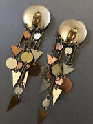 400- Antique Mixed Metal Modernist Industrial Style Clip On Earrings