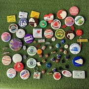Vintage Junk Drawer Lot Of Miscellaneous Pins 7up Crush Buck-a-cup Olympics Hire