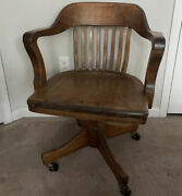 Vintage Solid Wood Banker Courthouse Lawyer Office Chair Solid Wood Arm Roller