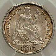 1887 Seated Liberty Dime Pcgs Ms-64 Andmdash Nicely Toned