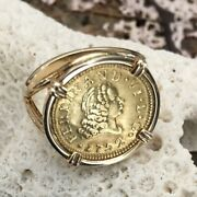 Gold Coin 22k Spanish Treasure Authentic Pirate Doubloon 1/2 E Set 14k Ring