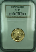 1987 10 1/4 Oz American Gold Eagle Age Coin Ngc Ms-69