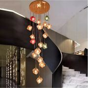 Led Color Glass Chandeliers Living Rooms Complex Stairs Pendant Lighting Decor