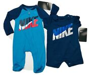 Air Nike Baby Boys 2-pc Gift Set Coverall And Bodysuit/romper 0-6 Months Blue.