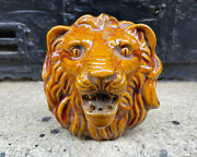 Antique Lionand039s Head Bust Old Venetian Fountain Piece Architectural Salvage Face