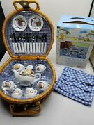 Winnie The Pooh Collectible China Tea Set With Basket - Schylling New Open Box
