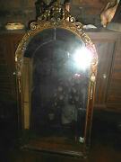 Rare Antique Wooden Beveled Glass Mirror 19th Century Carved Ornate