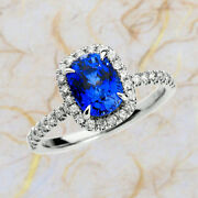 2.60 Ct Natural Diamond Blue Sapphire Gemstone Ring Solid 14k White Gold Band 8