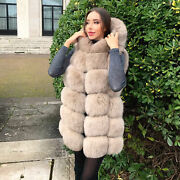 Winter Womenand039s Real Fox Fur Gilet Hooded Fashion Natural Fur Warm Vest Waistcoat