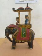 19th C Old Ancient Wooden Painting Elephant Ride Ambawadi Sculpture Figurine