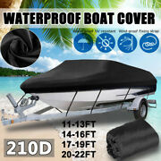 Heavy Duty Boat Cover Fishing Ski Bass V-hull Trailerable Runabout Storage Us