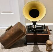 Antique Working 1903 Edison Standard Oak Wind-up Cylinder Phonograph With Horn