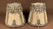 Pair Of Antique Metal And Fabric Boudoir Lamp Shades Victorian Bandh