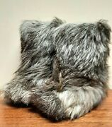 Vtg 70s Shaggy Yeti Boots Mukluks Real Fur Wool And Crepe Sole Canada North Lady 9