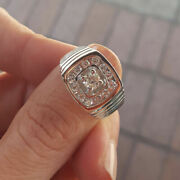 Real 0.80 Carat Diamond Engagement Mens Ring Solid 14k White Gold Band Size 10.5