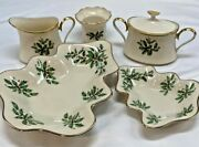 Lenox Holiday Berry Creamer And Sugar Bowl, Votive Holder, Sm And Lg Tree Dishes