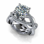 Round Cut 2.70 Ct. Moissanite Engagement Rings 14k Solid White Gold Size 5 6 7 8