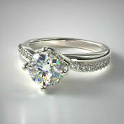 Fine 18k White Gold Band 0.70 Ct Real Diamond Engagement Womenand039s Ring Size 7 8 9