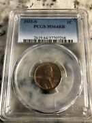 1931-s Lincoln Penny Pcgs Ns64rb Red/brown. Mint