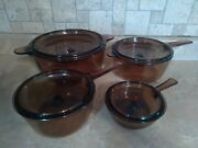 Vintage Vision Ware Glass Cookware Coring Pyrex Amber 8pc Set
