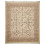 8and0393x10and0393 Hand Knotted Wool 16/18 Pak Per-sian 350 Kpsi Oriental Area Rug Ivory
