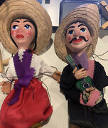 Pair Of Vintage Composition Or Clay Marionettes Spanish Senor And Senorita