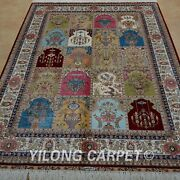 4and039x6and039 Handknotted Silk Area Rug Four Season Durable Floor Classic Carpet 0662