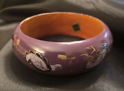 Estate Made In India Wooden Painted Rounded Bangle