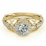 0.90 Ct Real Diamond Engagement Ring 14k Solid Yellow Gold Band Size 5 7 8 9