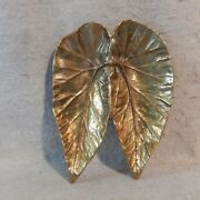 Virginia Metalcrafters Angel Wing Begonia Leaves Solid Brass Dish Tray Vintage