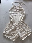 Jens Pirate Booty Pure Crocheted Lace Cream Romper Play Suit Halter Neck Beach