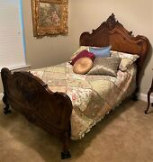 Antique C1870 French Rococo Carved Walnut Full Size Bed Frame And Mattress