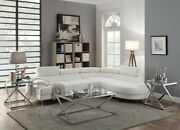 Modern 2pc Sectional Sofa Set White Faux Leather Sofa Chaise Cushion Couch
