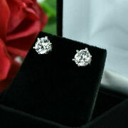 1.00 Ct Real Diamond Women 6 Prongs Earring Solid 18k White Gold Solitaire Studs