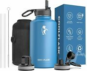 Insulated Water Bottle 64 Oz With Reusable Straw And Spout Lid, Coolflask Half Gal