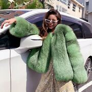 New Green Women Real Fox Fur Warm Coat Luxury Winter Natural Fur Thick Outerwear