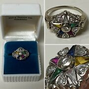 1940and039s Order Of The Eastern Star Solid 14kt Multi-stone/natural Diamond Ring