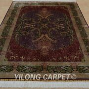 5and039x7.5and039 Handknotted Red Silk Area Rug Oriental Home Decor Indoor Carpet 1041