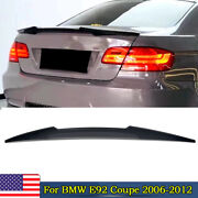 Black Painted Trunk Spoiler Duck Bill For Bmw E92 Coupe 2006-2012 M4 Style Wing