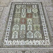 4and039x6and039 Four Seasons Handknotted Silk Carpet Indoor Home Floral Area Rug H292b