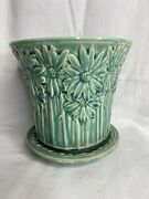 Vintage Unmarked Mccoy Pottery Turquoise Daisy Flowers Flower Pot Saucer 5 3/4andrdquo