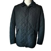 Barbour Three Crowns Vintage Blue Sports Quilt Mens Quilted Jacket Size Large