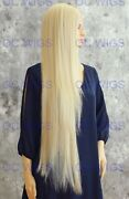 Light Blonde Extra Long Straight Heat Ok Lace Front Human Hair Blend Wig Evfn