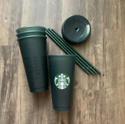 Starbucks Set Of Four Green Glitter Cold Cup Set