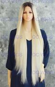 Rooted Light Blonde Extra Long Straight Lace Front Human Hair Blend Wig Evfn