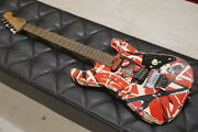 Evh Frankenstein Striped Series Red With Black White Stripes Relic 2020s G1537