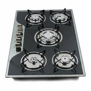 Gas Stove Cast Iron Stove With Thermocouple Protection, Black Tempered Glass