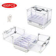 Silver 600pcs Chips Clear Acrylic Poker Chip Locking Carrier With 6 Chip Racks